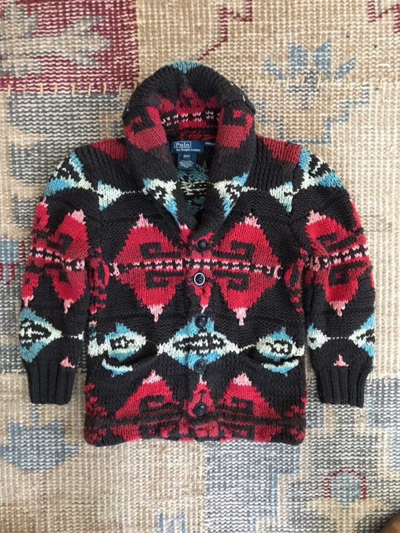 89a5218181 Ralph Lauren Sweater Coat Hand knit Childs Tribal Aztec Navajo
