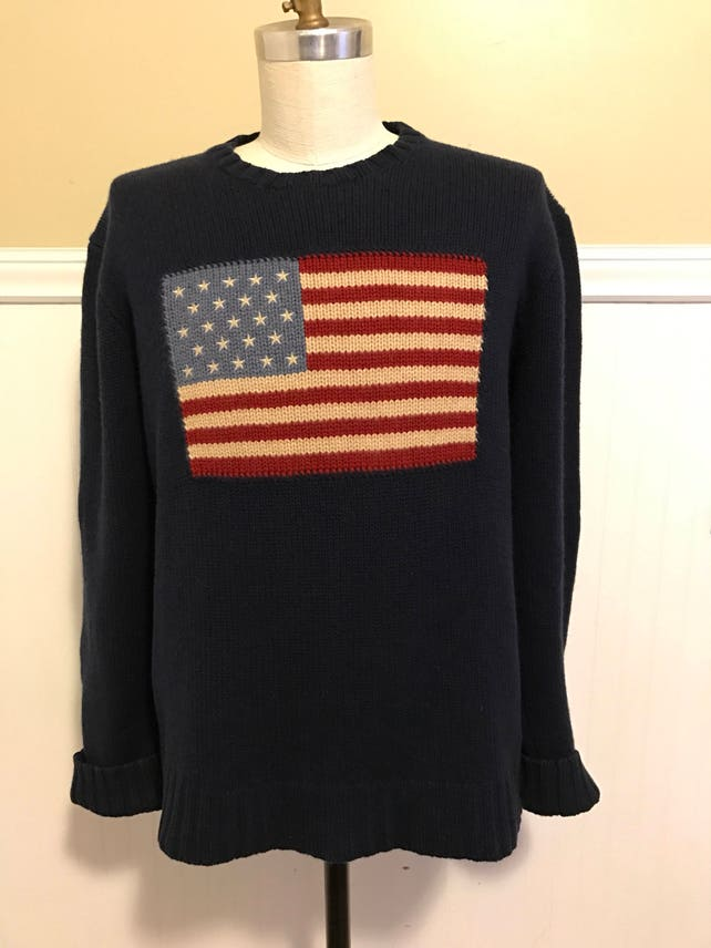 5796c85fddee05 ... discount ralph lauren cashmere flag sweater navy american flag u s a  american men xl polo western 6b276