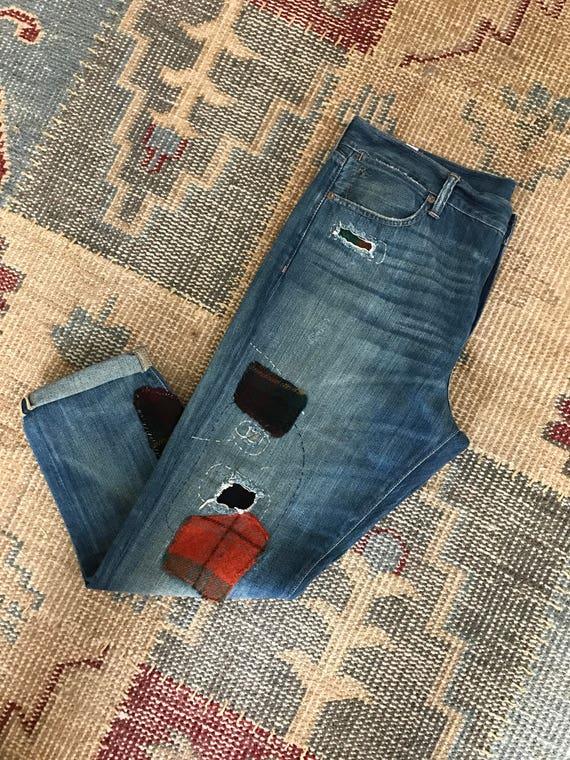 Ralph Lauren Jeans Patchwork Wool Plaid Womens Ind