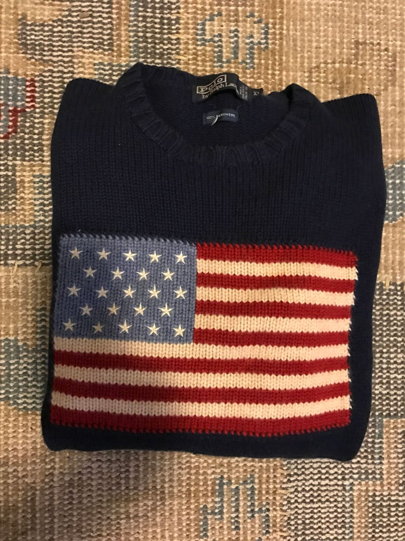 a106f599bc Ralph Lauren Sweater Cashmere Flag Sweater Navy American Flag