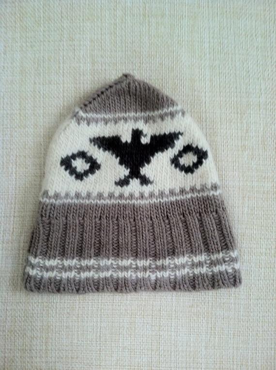 9d2666975 Ralph Lauren Hand knit Hat Cowhican Eagle Salish Native American Winter Cap  Hat Skull Cap Aztec Navajo Grey Wool Vintage Western Rockabillly