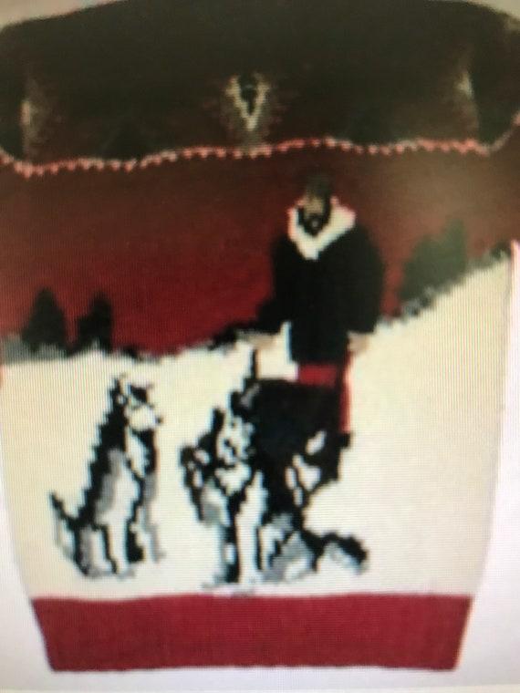Vintage Ralph Lauren Hand Knit Sweater Dog Sled Tr