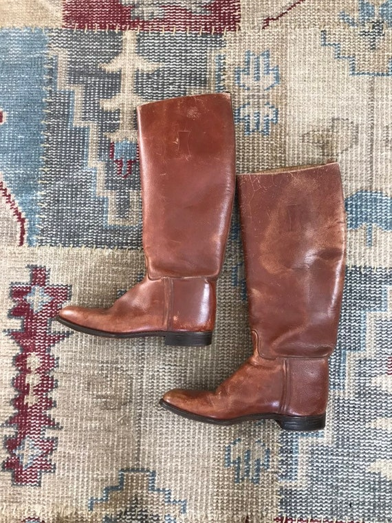 Vintage English Riding Boots Equestrian  Leather B