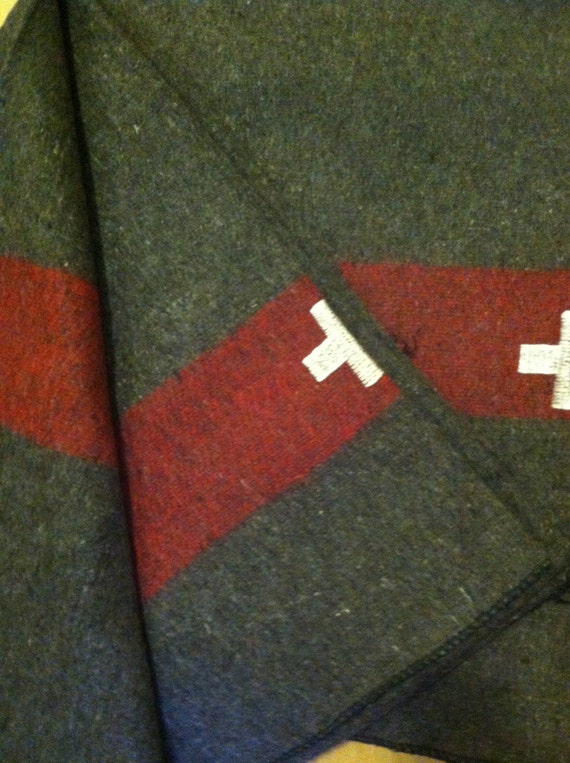 e54a79181c Swiss Army Blanket Wool Blanket Stitch Embroidered Cross