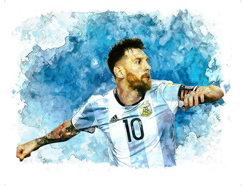 30e7dd75a Print 16 Lionel Messi Argentina Barcelona Print Football