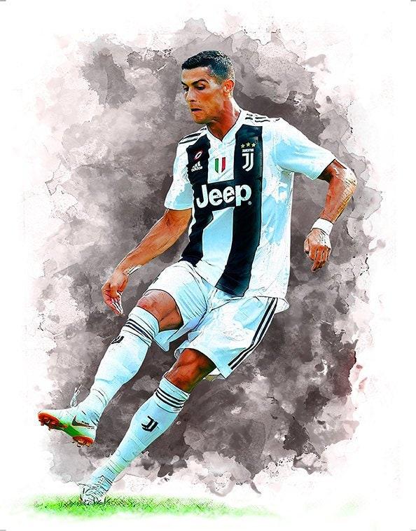cf236102c19 Print 25 Cristiano Ronaldo Juventus Football Poster | Etsy