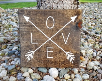 Love with Arrows Sign, Love Sign, Wedding Sign, Wooden Love Sign, Love and Arrows, Love and Arrows, Wooden Signs, Marriage Signs, Love Decor
