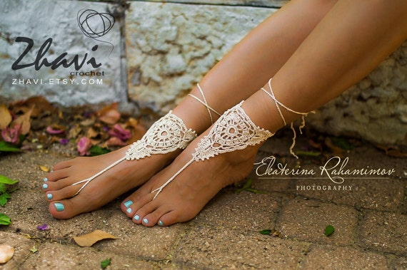 75ede2040a7d6 Crochet beige barefoot sandals, Bridal foot jewelry, Beach wedding, Nude  shoes, Spring wedding, Footless sandals, Spring Gift, Sale