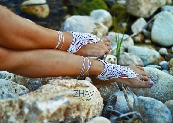 Wedding shoes Foot jewelry Crochet Barefoot Sandals handmade Nude shoes