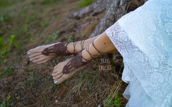 Toe tong Helloween Foot Jewelry Multicolor Bridal Crochet Barefoot Sandals Bridal Sandals Beach wedding shoes