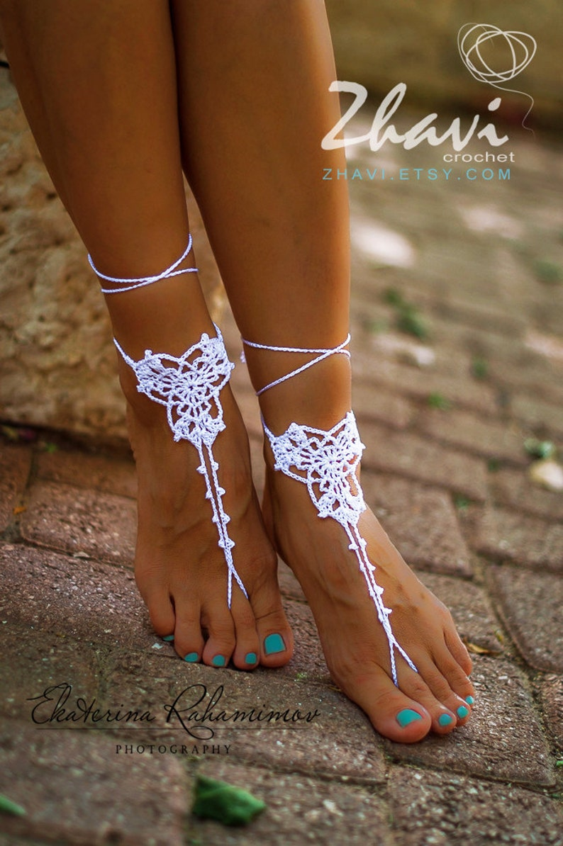 c60eb7ed0 Wedding White Crochet Barefoot Sandals Foot Jewelry Beach