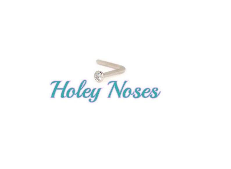Diamond Nose stud ring pin 0.01ct 18ct White Gold 1pt Handmade  Genuine Gold Diamond Nose stud Nose pin Nose Ring Nose Screw Nose Bone