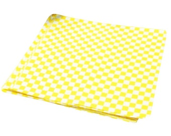 """75 Wax Paper Sheets Yellow Check Food Basket Liner 12"""" x 12"""" Red White Checkered Wrap"""