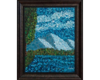 """Northwest Impressions Original Oil Painting in shades of blue and green, Framed, High Quality Prints, 0.75"""" stretched canvas - 11"""" × 14"""""""