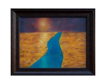 "The Burning Sun Original Oil Painting, Framed, Fantasy landscape art - Framed, High Quality Prints, 0.75"" thick canvas - 11"" × 14"""
