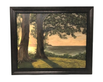 """Peach Beach Original Oil Painting on Canvas - Stanley Park in Vancouver, BC, Canada, Framed - 16"""" x 20"""""""