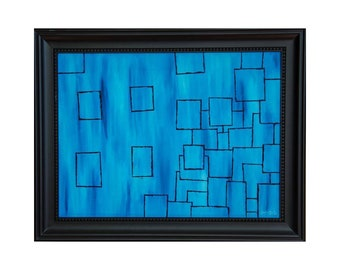 """Lost Boxes Original Oil Painting, Highlights human behaviors - Framed, High Quality Prints, 0.75"""" thick canvas - 12"""" × 16"""""""