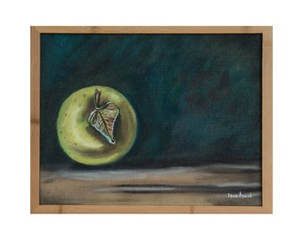 """Space Apple Original Oil Painting, Fantasy art - Inspired by nature, Framed, High Quality Prints, 0.75 thick canvas - 11"""" × 14"""""""