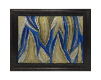 """Abstract original oil painting, """"The Flames and The Sea"""" Framed, High Quality Prints, 0.75"""" thick gallery wrapped canvas - 5"""" x 7"""""""