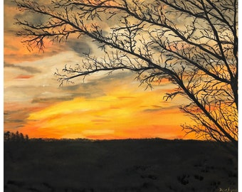 """Original Oil Painting of Sunset in Pacific MO """"Sunset Dreams"""" - High Quality Prints, 1.5"""" thick gallery wrapped canvas - 16"""" x 20"""""""