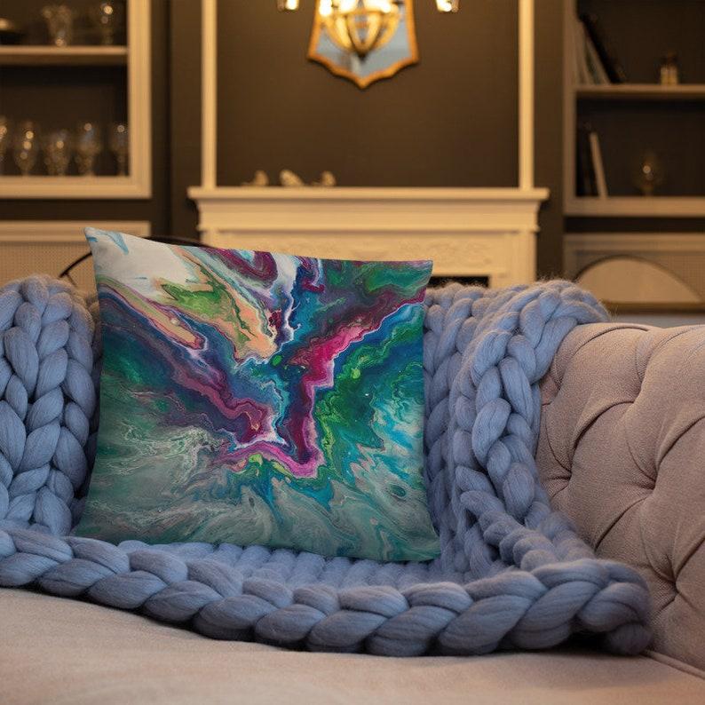 Magenta Blue Green Accent Pillow Decorative Throw Pillow