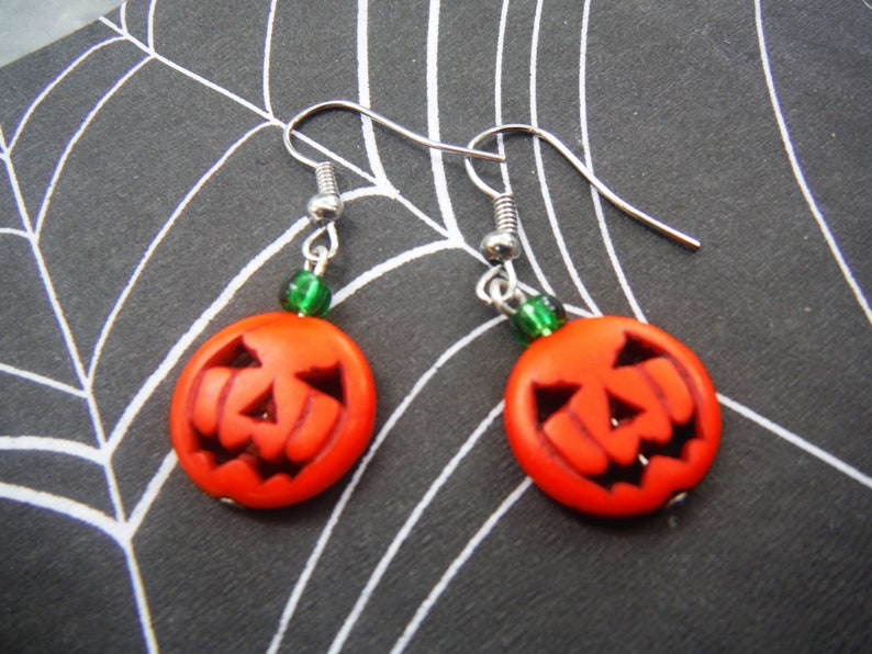 Halloween Jack o Lantern  pumpkin earrings image 0