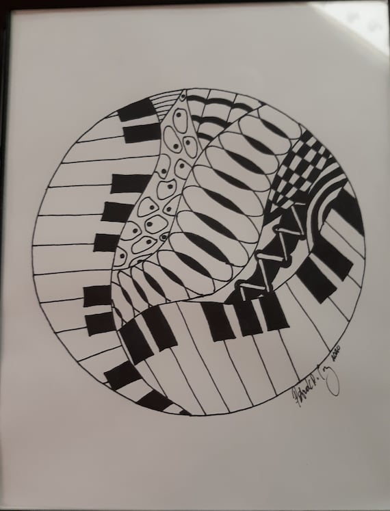 Music Zentangle wall hanging