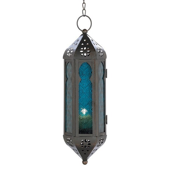 Ocean Blue Glass Azul Serenity Hanging Moroccan Lantern