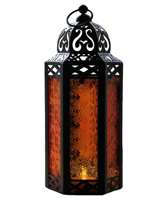 Amber Glass Hexagon Moroccan Lantern