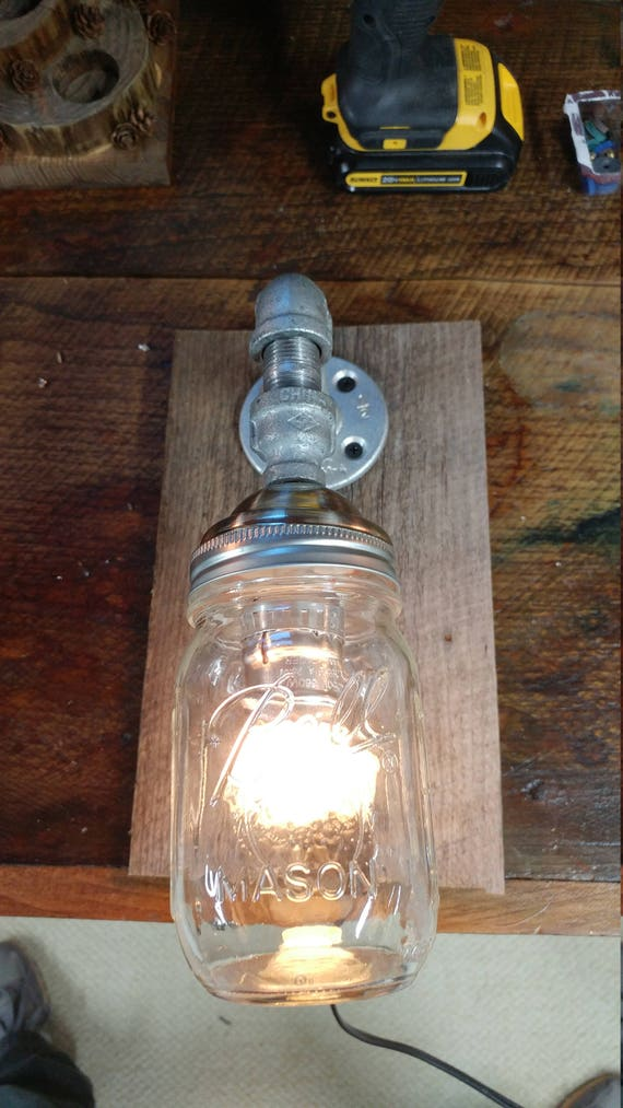 Industrial Mason Jar wall light