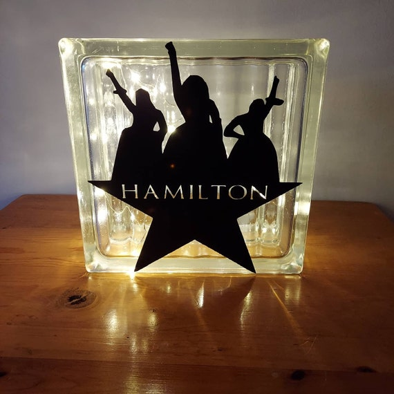 Hamilton Glass Block Light with Decal