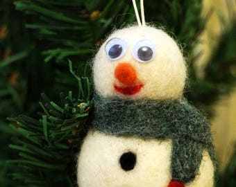 Felted snowman Wool Christmas decoration Ornament Christmas Tree Home decor snowman photo prop newborn white prop stocking stuffer gift her