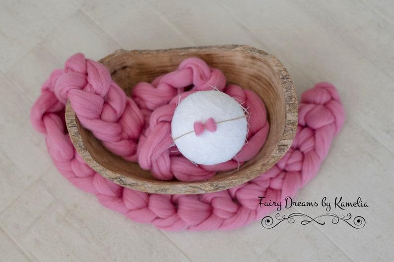 Pink braid Newborn photo prop Basket stuffer Chunky knit braid Bump braid Wool braid basket filler Chunky Wool Braid Pink chunky scarf