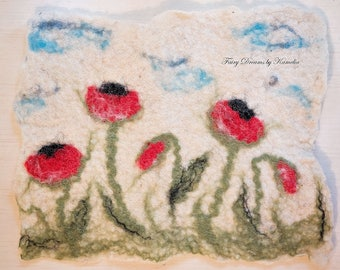 Wool painting with poppy flowers Poppies painting Wool picture Hand felted picture poppies Wall decor picture poppy Wool wall decoration