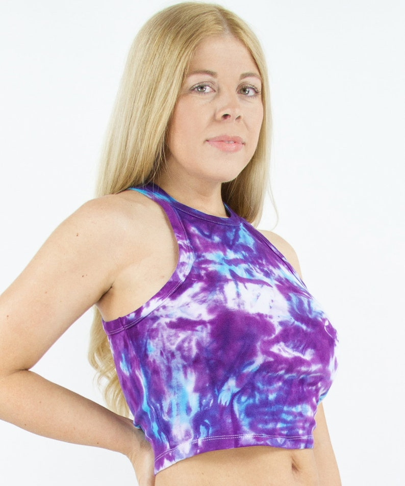 Sustainable Hand Dyed and Green Crop Top Tahitian Waters Tie Dye Crop Tank Size Large Natural Purple Tie-Dye Blue Cotton