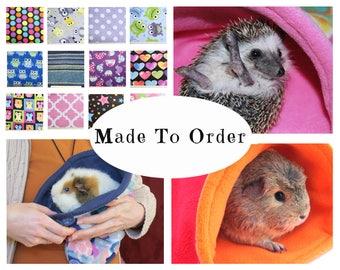 Custom guinea pig fleece snuggle sack | hedgehog | fleece accessories | chinchilla | ferret | bunny | cozy | bag | MADE TO ORDER