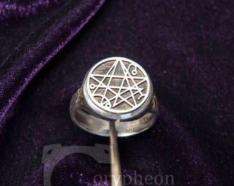 Necronomicon Signet Ring, 925 silver