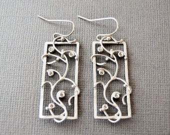 SALE Silver Vine Earrings, Sterling Earring, Silver Drop Earring, Filigree, Vine, Flower, Gifts for Her