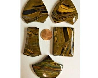 Tigereye Iron Tiger Eye Pendant Beads LOT of 5 Top Drilled Various Shapes