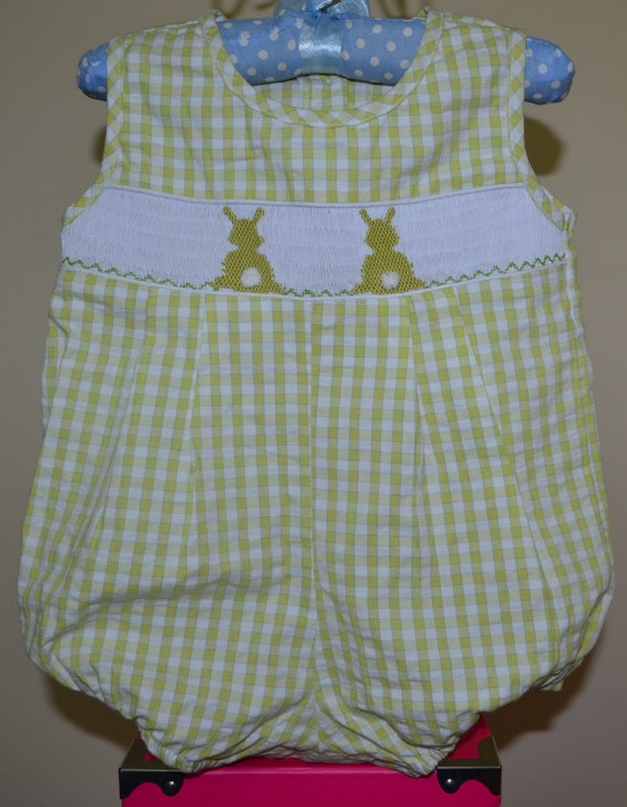 FREE SHIPPING Smocked Bunny Bubble Smocked Easter Boy Bubble