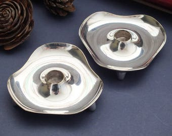 Pair of mid century Danish silver plate candle holders, Denmark, organic design, small taper candle holders