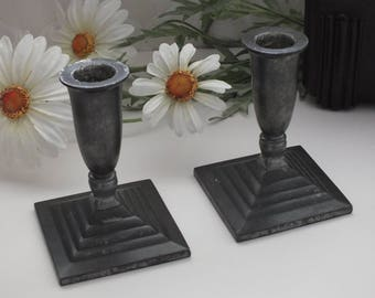 Pair of Art deco Just Andersen pewter candle holders, Denmark, vintage candlesticks, scandinavian lighting, 1930s decor,