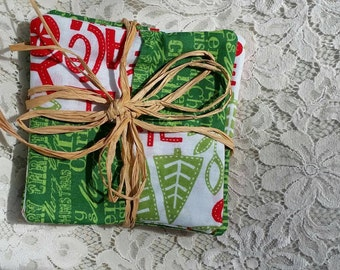 Quilted Christmas Coasters, set of 4