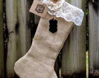 Vintage Shabby Chic Burlap and Lace Christmas Stocking