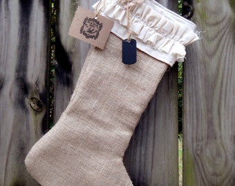 Vintage Shabby Chic Burlap Christmas Stocking