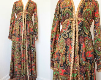 SALE* Vintage 1970's Paisley Jumpsuit// Black Red Green and Gold Palazzo One Piece// '70s Wide Leg Long Sleeve Jumpsuit