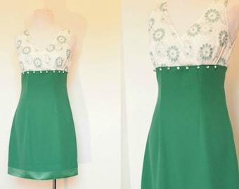 Vintage Green and White Mini Dress// Sleeveless Empire Waist Mini// Size XS Small White Eyelet Dress// 1960's Style Mini Dress