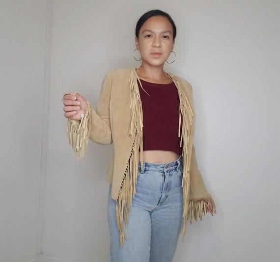 Tan Leather Fringe Jacket// Lightweight Size Small