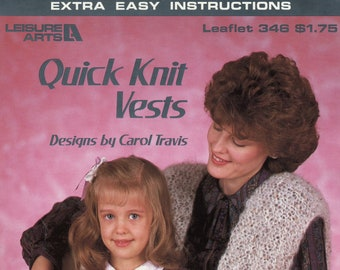 Quick Knit Vests from Leisure Arts, Leaflet 346 | Craft Book