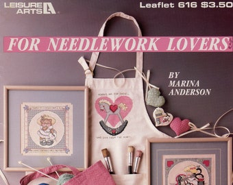 For Needlework Lovers cross stitch patterns from Leisure Arts, Leaflet 616 | Craft Book
